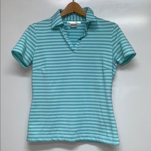 NIKE Dry Fit Golf Stripped Polo Shirt Top